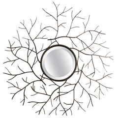 Les Branches Patinated Convex Beveled Mirror, Offered by La Porte
