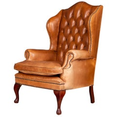 Stunning Late 20th Century English Leather Wing Back Chair, circa 1980