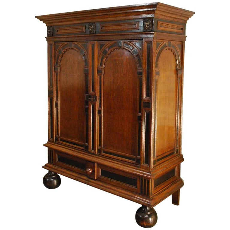 17th Century Dutch Renaissance Oak and Ebony Two-Door Cabinet For Sale