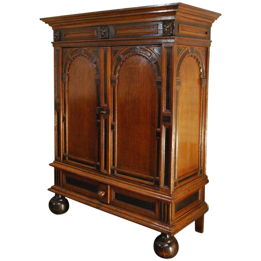 17th Century Dutch Renaissance Oak and Ebony Two-Door Cabinet