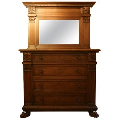 Large Italian Chest of Drawers with Mirror Top, Walnut, circa 1900