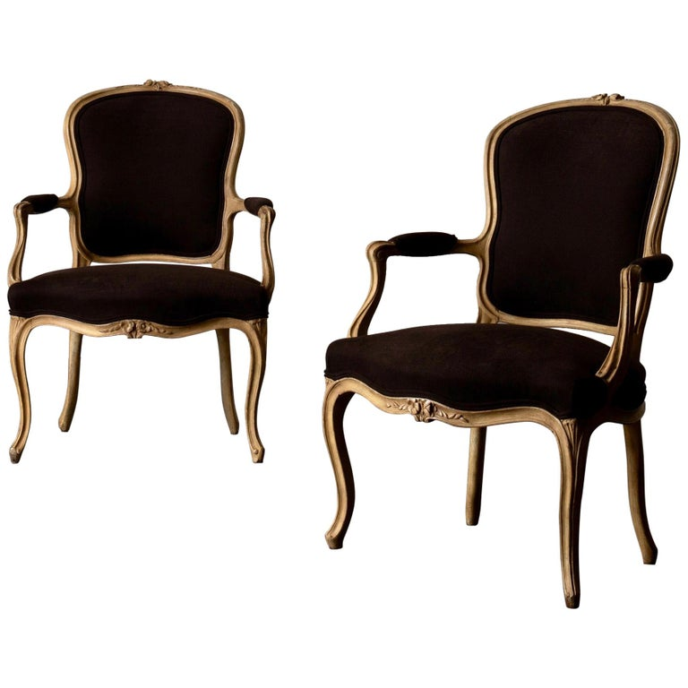 Armchair Pair Swedish Rococo Yellow Brown Sweden For Sale