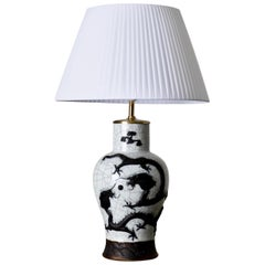 Table Lamp Black and White Porcelain, China