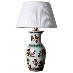 Lamp Table Oriental White Red Flowers 1920s China
