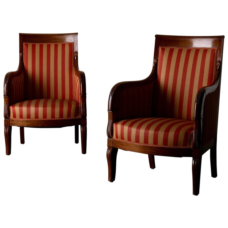 Chairs Pair of Empire French Mahogany France For Sale