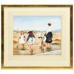 Vintage Seaside Watercolor by John Berry, Mid-20th Century