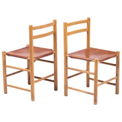 Pair of Minimalist Chairs in Maple and Saddle Leather