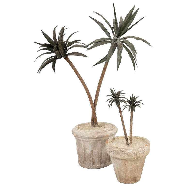French Metal Palm Trees in Clay Pots For Sale