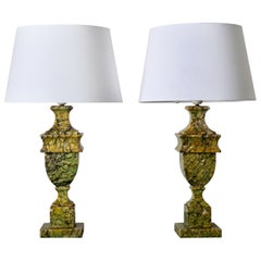 Table Lamps Pair Green Stone Sweden