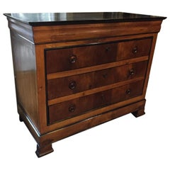 19th Century Italian Walnut Chest of Drawers with Black Lacquered Top, 1890s