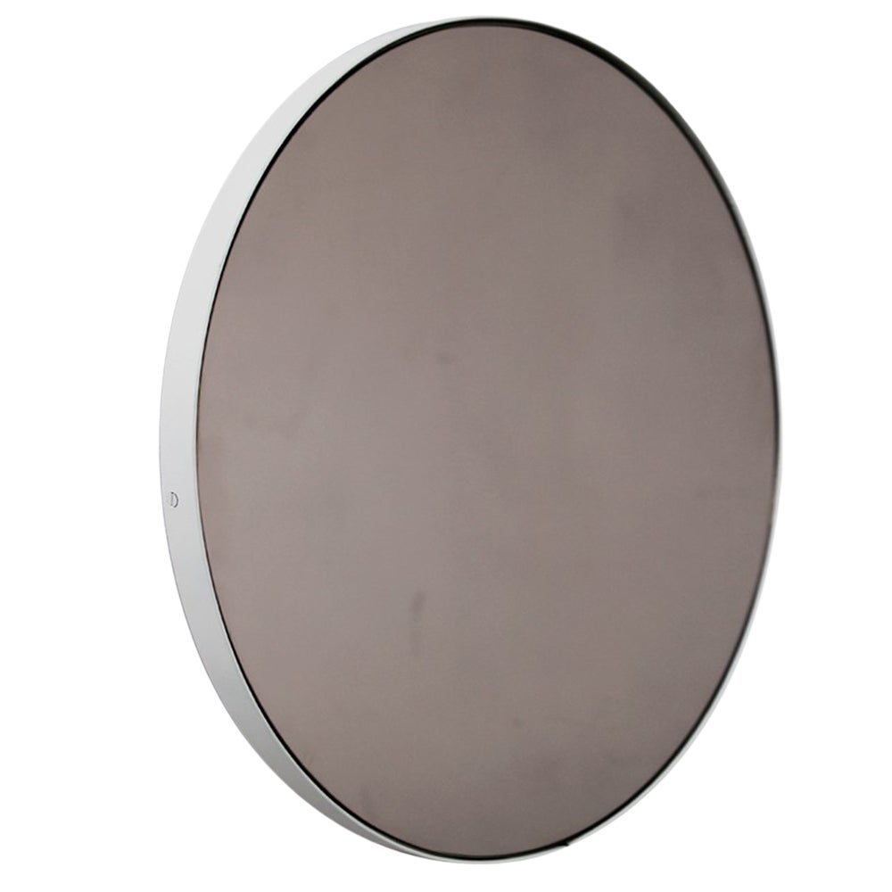 Orbis™ Bronze Tinted Round Contemporary Mirror with White Frame - Small