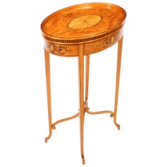 Antique Marquetry & Shell Inlaid Satinwood Oval Occasional Table, 19th Century