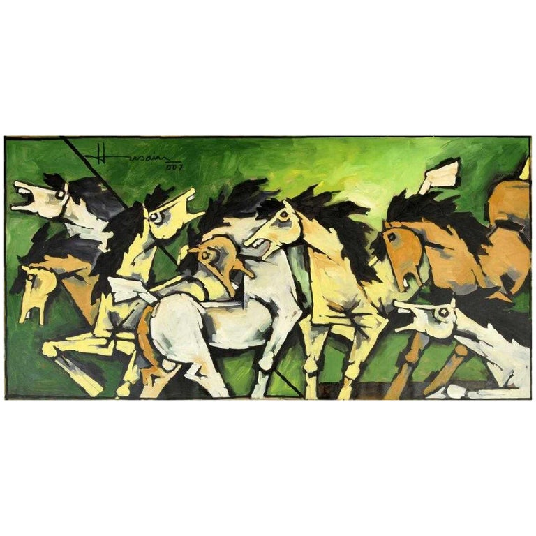 Large Maqbool Fida Husain Painting For Sale