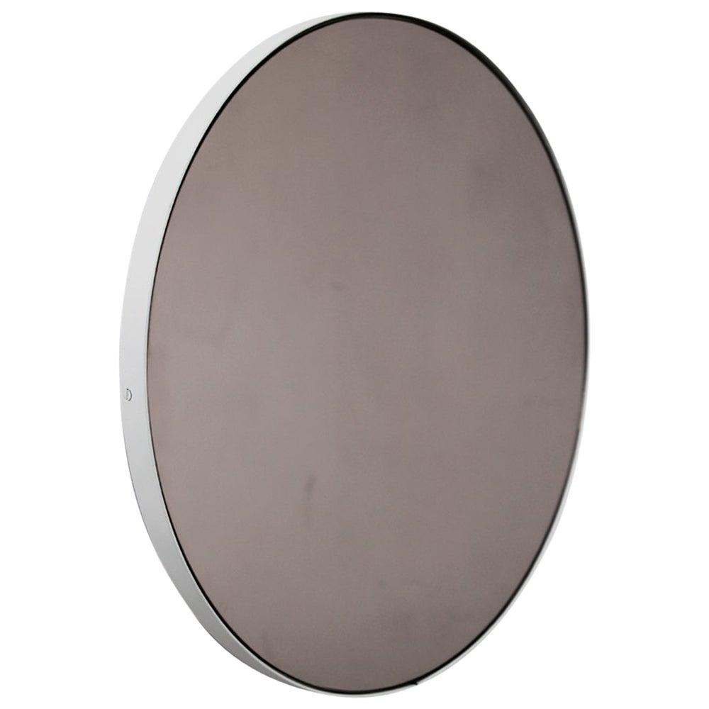 Orbis™ Bronze Tinted Round Modern Bespoke Mirror with White Frame - Medium