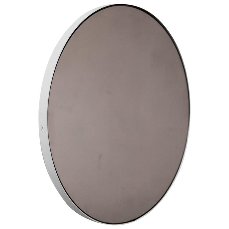 Bronze Tinted Orbis Round Mirror with White Frame For Sale