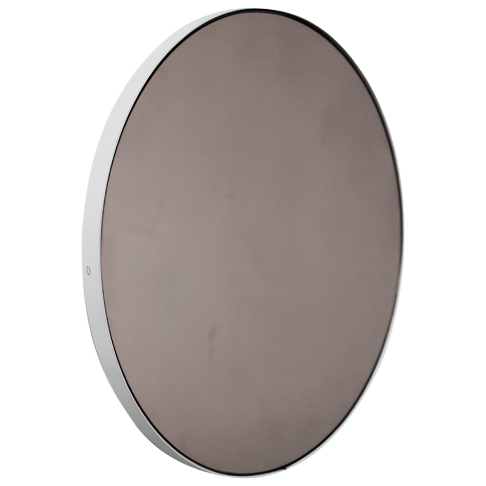 Orbis™ Bronze Tinted Round Modern Mirror with White Frame - Oversized