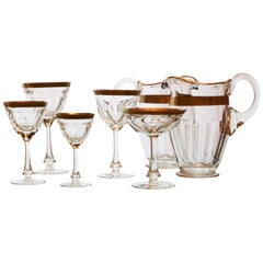Moser Set of 63 Pieces, Lady Hamilton, Clear Cristal with Gilded and Etched Band