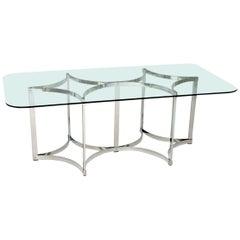 Vintage Merrow Associates Dining Table in Chrome & Glass, 1970s