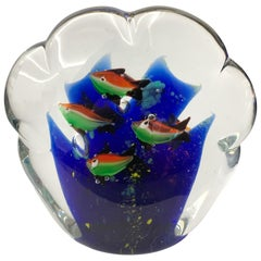 Paperweight Sculpture for Aquarium in White, Blue, Red and Green Murano Glass