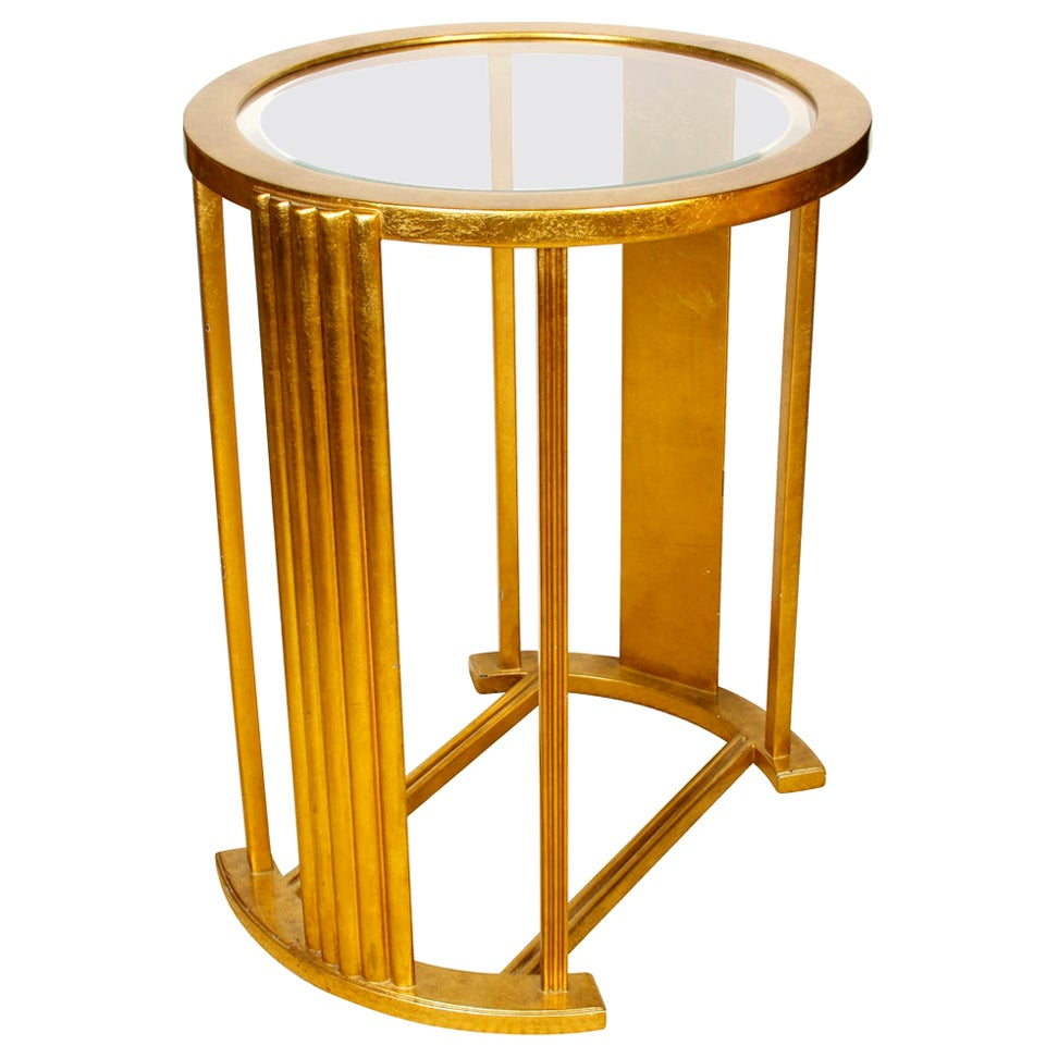 Pair of Giltwood Art Deco Style Glass Top Tables