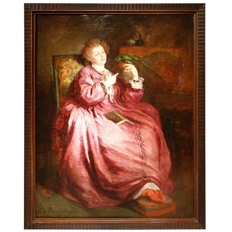Portrait of a Woman with a Parrot, Painting Signed de Bornschlegel, 19th Century For Sale