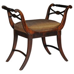 Antique Biedermeier Empire Gondola / Stool, circa 1820, Horsehair