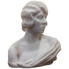 Art Deco White Massive Marble Woman Sculpture
