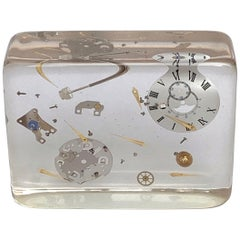 Lucite Resin Sculpture with Exploded Watch of Pierre Giraudon France, 1970s