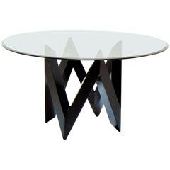 1983 De Pas D'urbino Lomazzi Patio Table Black Lacquer Round Glass Top Sormani