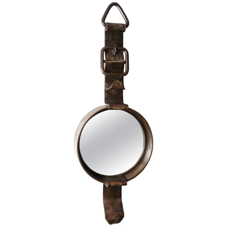 Iron Watch-Form Mirror For Sale