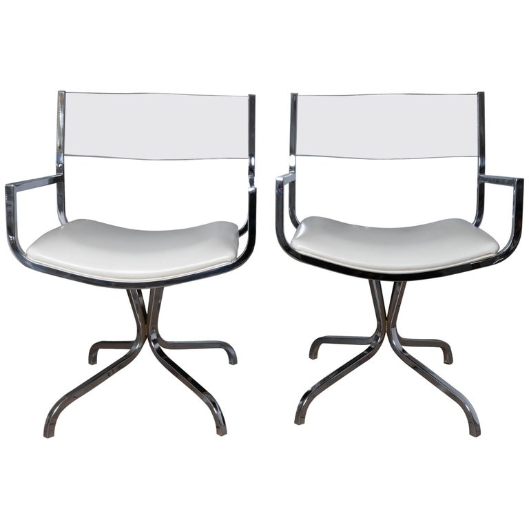 Chrome Swivel Armchair with Lucite Back and Upholstered Leather Seat For Sale