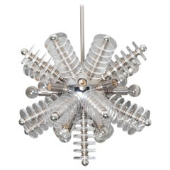 Chrome and Lucite Sputnik Chandelier with Lucite Disk Details