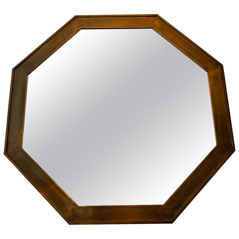 Octagonal Patinated Surround Mirror, by Mastercraft For Sale