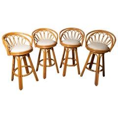 Set of Four-Seat Upholstered Swivel Rattan Bar Stools