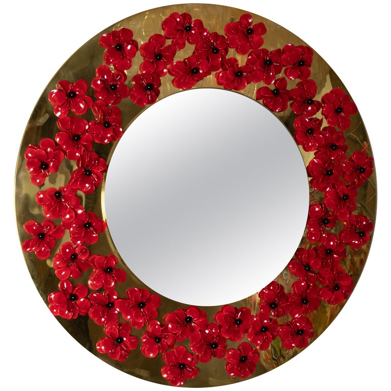 Circular Brass Mirror with Murano Glass Flowers For Sale