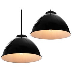 Large Black over White Dome Pendants - Matching Pair