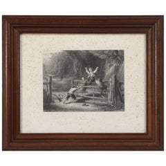 """French Lithograph """"The Woodland Gate"""" Early 1900s"""
