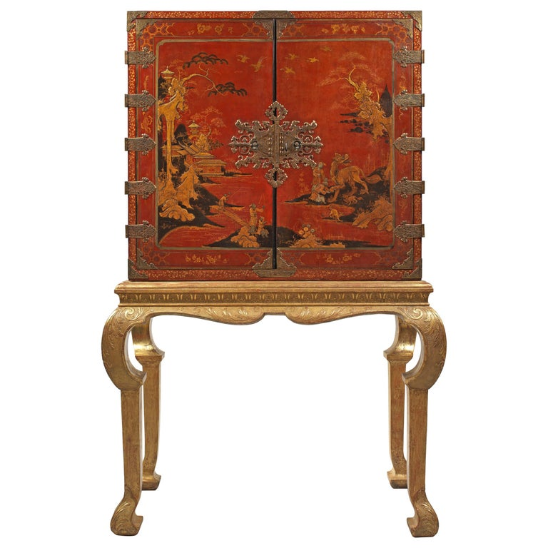 Early 18th Century Chinese Red Lacquer Cabinet on a Giltwood Stand For Sale