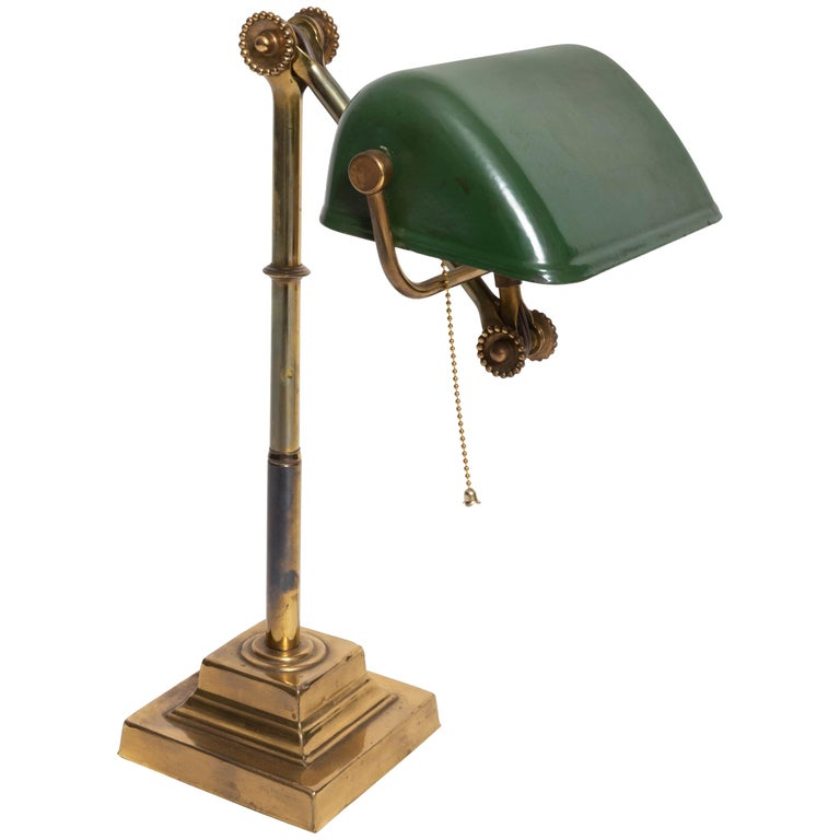 Turn-of-the-Century Brass Desk Lamp For Sale