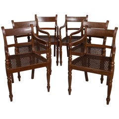 Set of Six 19th Century British Colonial Satinwood Armchairs