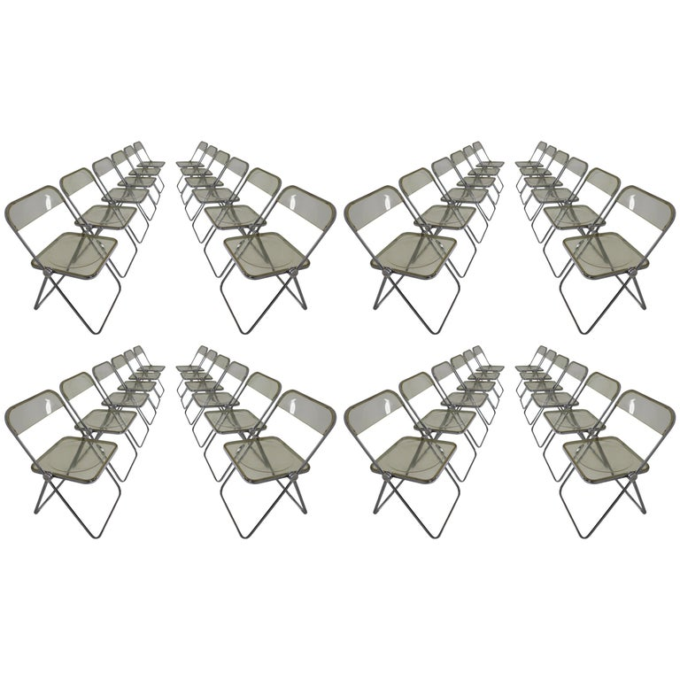Set of 48 Green Lucite Plia Chairs by Giancarlo Piretti for Castelli, 1970s For Sale