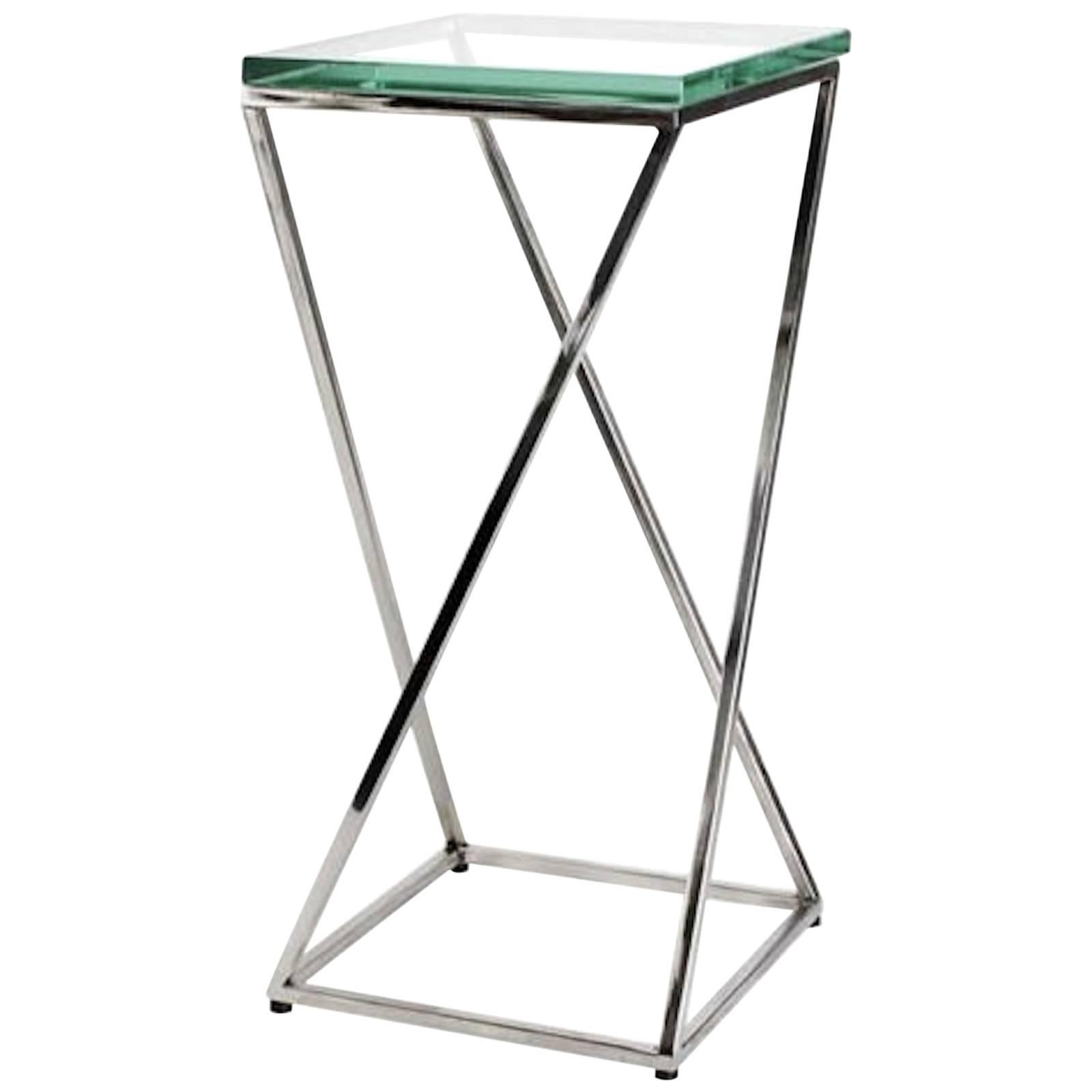 Contemporary Square Glass Top Cocktail Table
