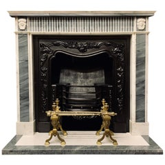 Antique 19th Century Regency Style Statuary and Bleu Turquin Marble Fireplace