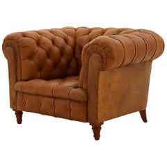 Chesterfield Style Tufted Leather Club Chair