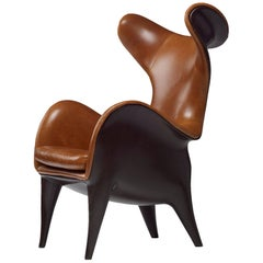 Frankie Wingback Contemporary Leather Lounge Chair by Jordan Mozer, USA