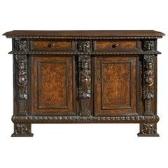 17th Century Walnut Louis XIV Italian Sideboard