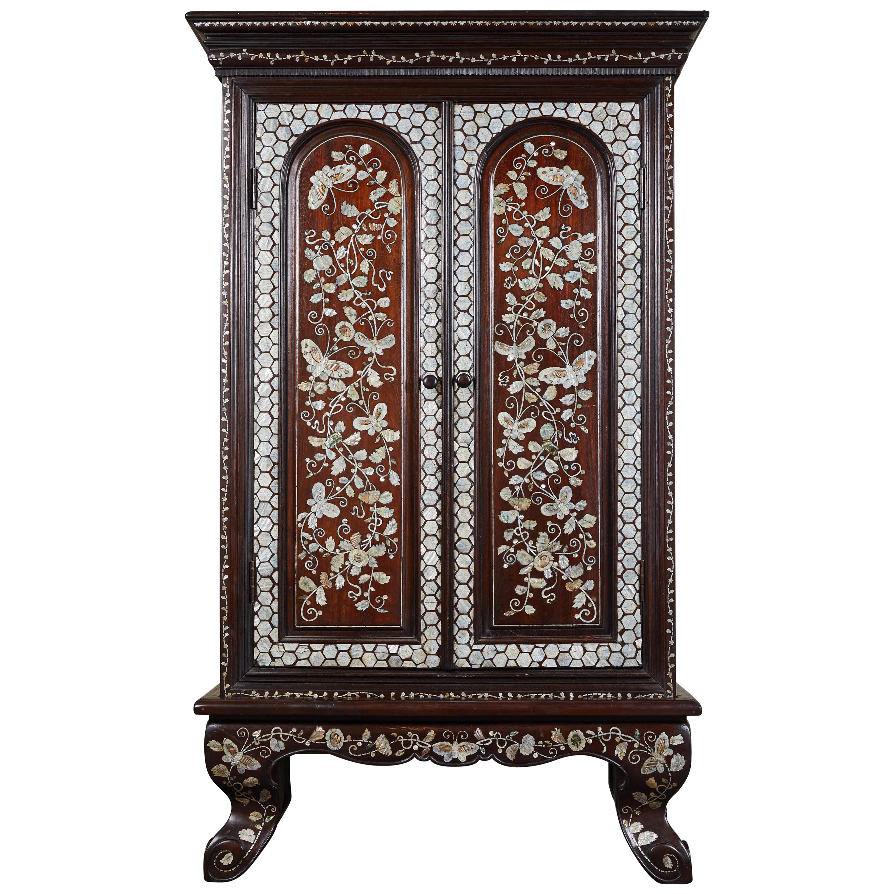 19th Century French Colonial Cabinet with Mother of Pearl