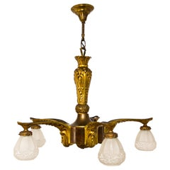 Art Deco Gilt Bronze and Wood Five-Light Chandelier