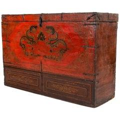 Antique Tibetan Chest with Original Red Paint