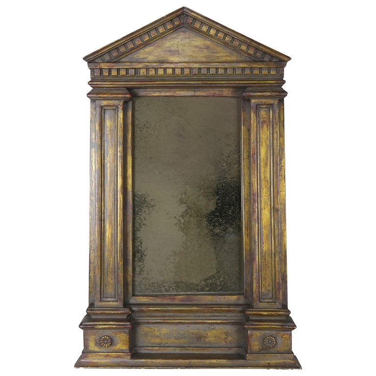 19th Century Italian Neoclassical Style Giltwood Mirror For Sale